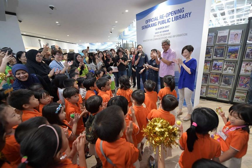 Minister for Communications and Information Yaacob Ibrahim was guest of honour at the re-opening of the Sengkang Public Library.