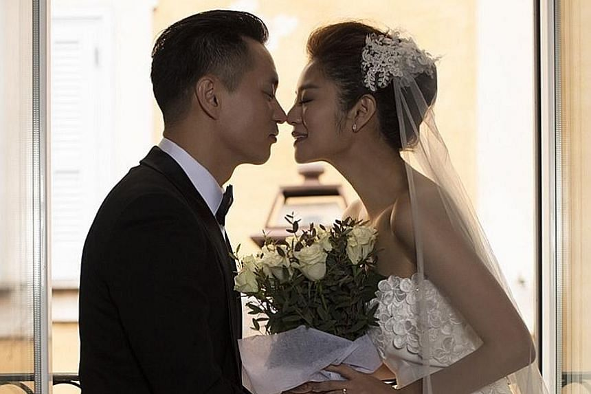 Ady An registered her marriage with Macau businessman Chen Rong Lian (both above) in Taipei and will hold ceremonies in June.