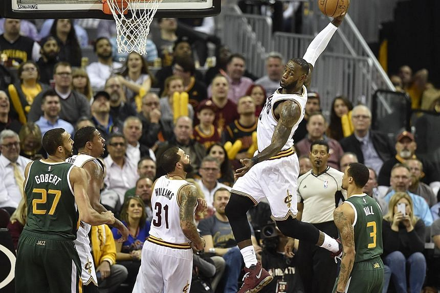 LeBron James scored 17 points in the fourth quarter to reel in a three-point lead by the Utah Jazz. Cleveland's All-Star forward has scored at least 30 points in 17 games this season.
