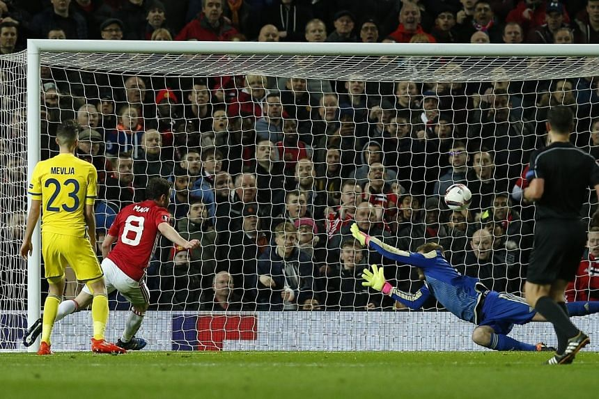 Juan Mata scores at the far post to give Manchester United a 1-0 win over Russian side Rostov in the return leg of their Europa League last-16 clash. United play Middlesbrough tomorrow - their third match this week.