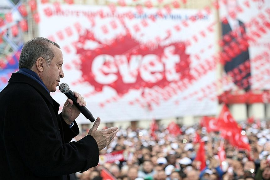 Analysts say Mr Erdogan, seen here speaking at a ceremony in Turkey on Thursday, wants to be seen as standing up to Europe so that he can attract nationalist votes ahead of a referendum at home on constitutional changes.