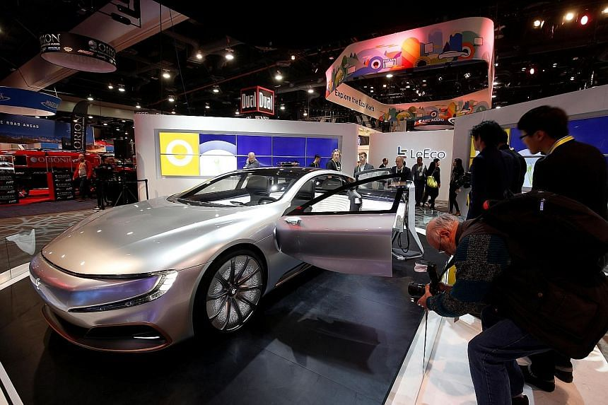 An electric concept vehicle by LeEco displayed during a tech show in Las Vegas, Nevada, earlier this year. The Chinese firm, which grew from a Netflix-like video website to an empire spanning consumer electronics and electric cars within 13 years, is