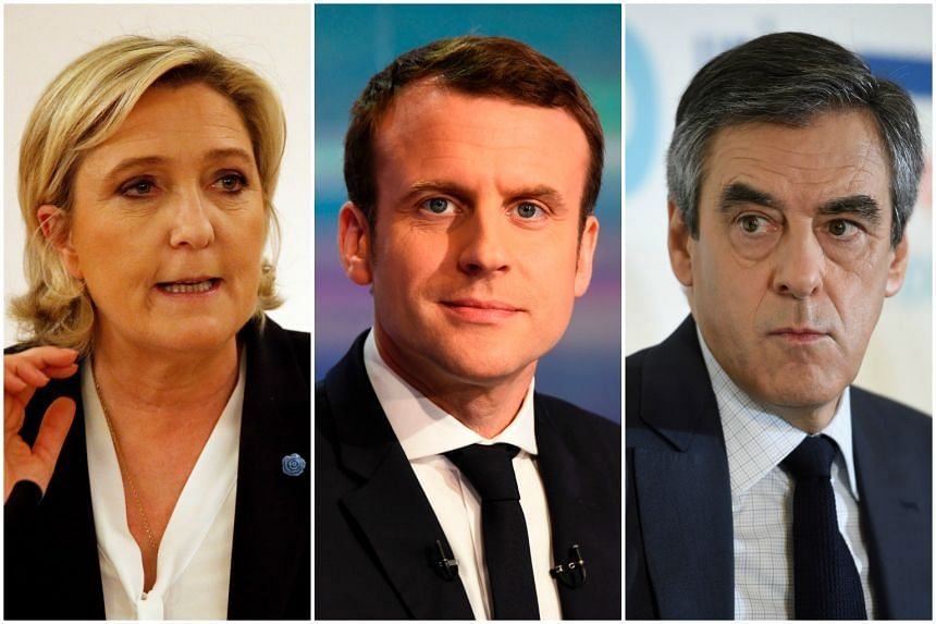 (From left) Far-right leader Marine Le Pen, centrist candidate Emmanuel Macron, Republicans nominee Francois Fillon are among five main candidates who will go head-to-head in the first of three TV debates.