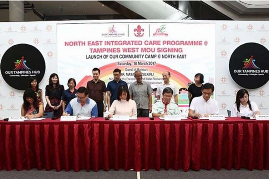 The North East CDC signed a Memorandum of Understanding with the Ministry of Social and Family Development, the Singapore Scouts Association, Students Care Service, Tampines West GROs and Trampolene Limited to establish the North East Integrated Care