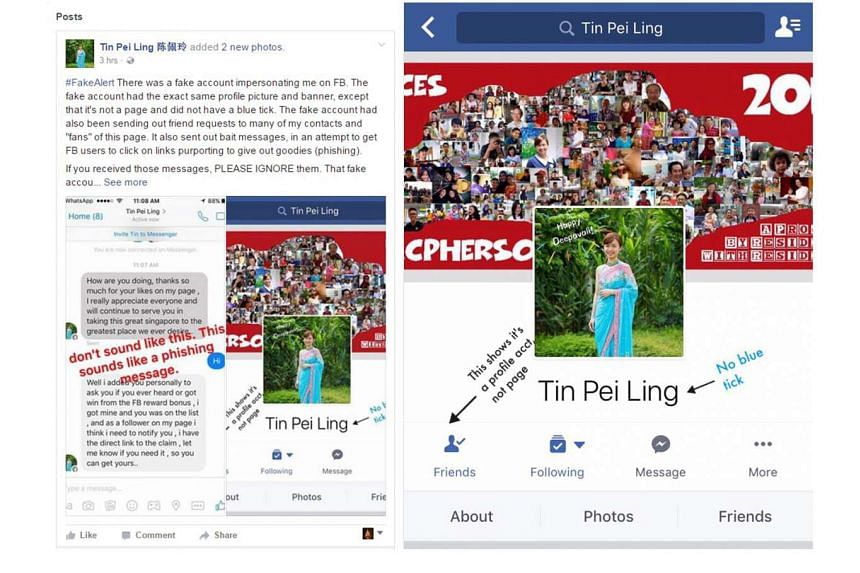 Ms Tin posted an alert on her Facebook page yesterday (left) about the fake account created in her name (right), and telling her residents how to spot such scams.
