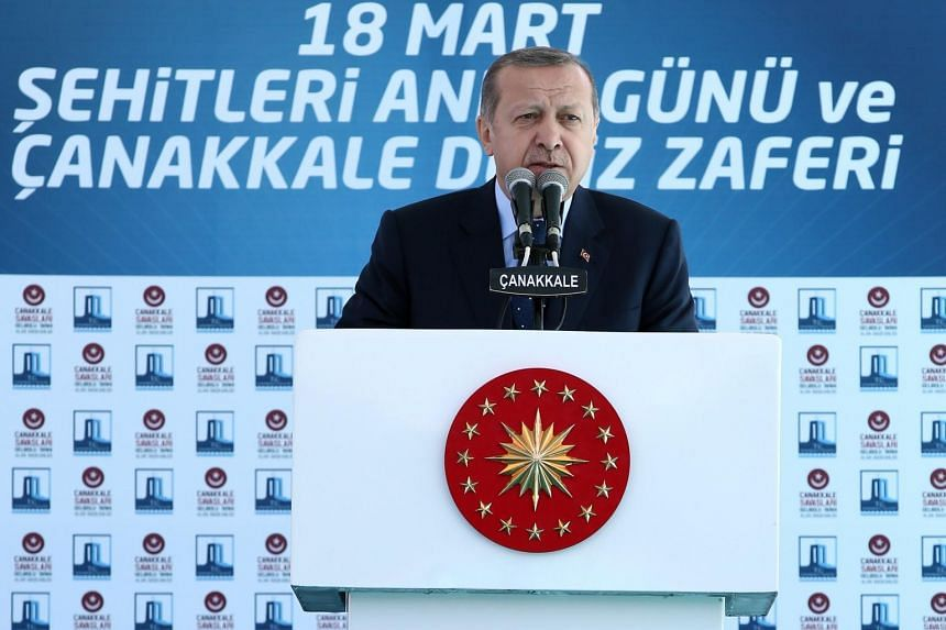 Turkish President Recep Tayyip Erdogan speaks during a ceremony marking the 102nd anniversary of the end of Gallipoli campaign in Galipoli, Turkey on March 18, 2017.