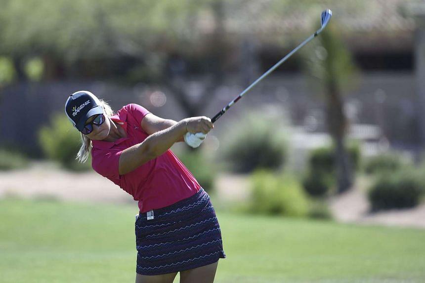 Anna Nordqvist hits her approach shot on the 12th hole during the the third round of the Bank Of Hope Founders Cup at Wildfire Golf Club at the JW Marriott Desert Ridge Resort on March 18, 2017.