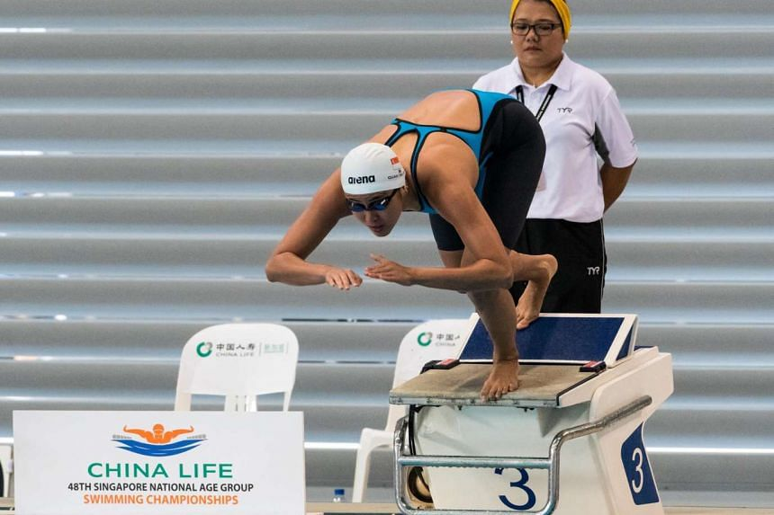Quah Ting Wen takes off in her 50m freestyle race at the Singapore National Age Group Championships on Sunday, March 19, 2017.