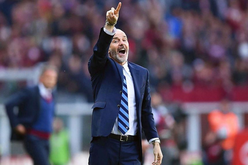 Inter's head coach Stefano Pioli gestures during the Italian Serie A soccer match between Torino FC and Inter Milan at Olimpic Stadium in Turin, Italy, on March 18, 2017.