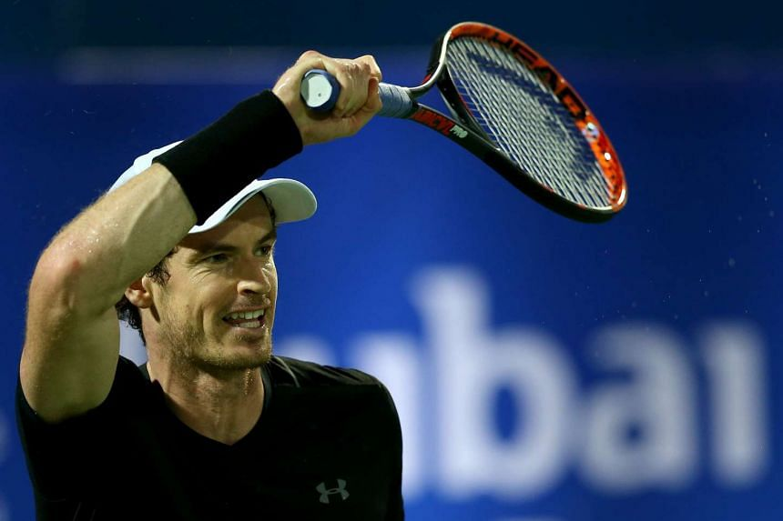 Murray in action against Fernando Verdasco of Spain in Dubai, March 4, 2017.
