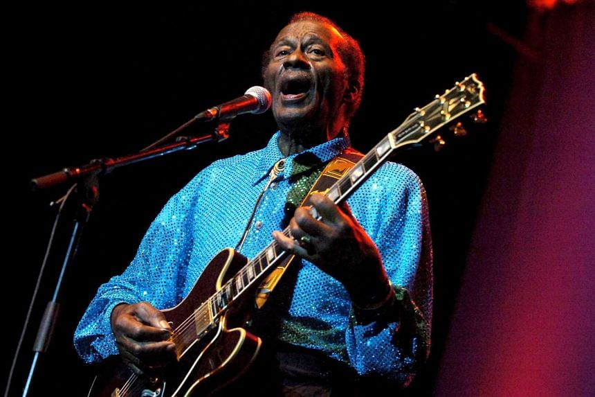A file picture dated Nov 7, 2005 shows US musician Chuck Berry performing at the Kongresshaus in Zurich, Switzerland.