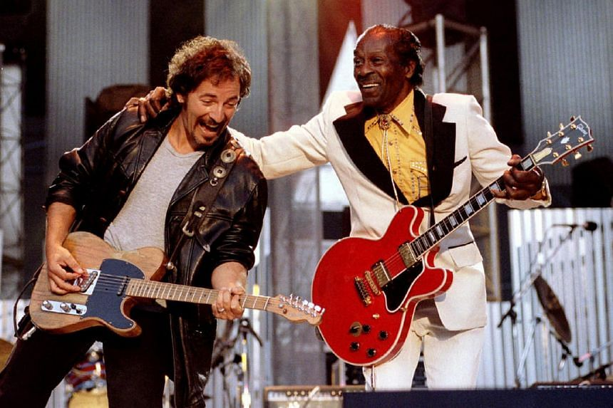 Bruce Springsteen and Chuck Berry perform Johnny B. Good to open The Concert for the Rock & Roll Hall of Fame, on Sept 2, 1995.