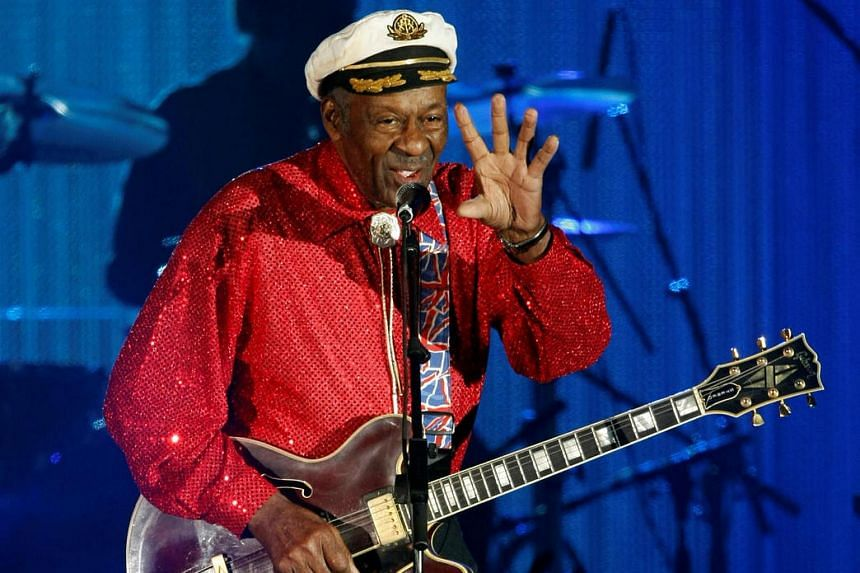Rock and roll legend Chuck Berry performing during the Bal de la Rose in Monte Carlo, Monaco, on March 28, 2009.