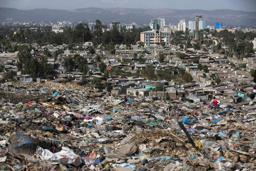 A photo taken on March 12, 2017 shows a view of Addis Ababa from the main landfill, after the deadly landslide at the dump.