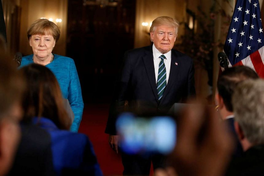 The stark differences between Dr Merkel and Mr Trump were in full view at Friday's meeting, and both later took pains to downplay the differences at their news conference.