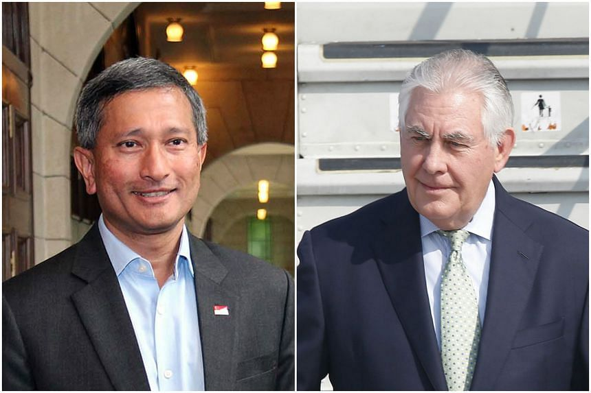 Dr Vivian Balakrishnan (left) will participate in a meeting of foreign ministers hosted by US Secretary of State Rex Tillerson.