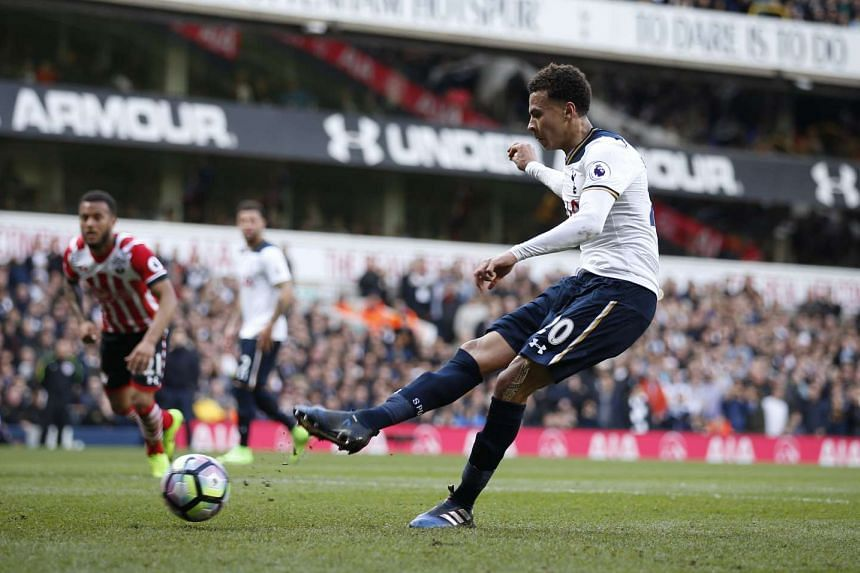 Tottenham's Dele Alli scores their second goal from the penalty spot in White Hart Lane on March 19, 2017.