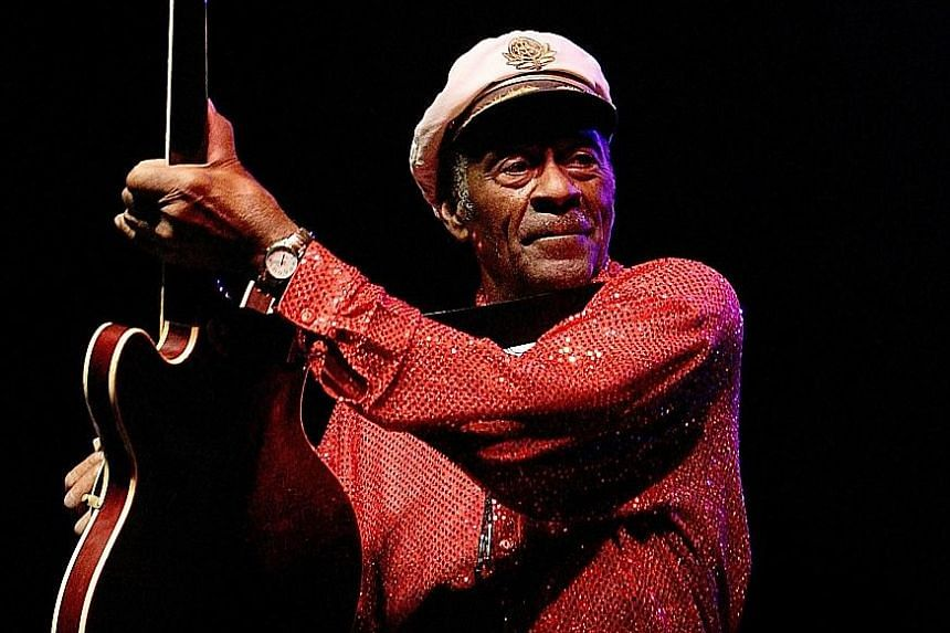 Chuck Berry in a 2008 photo. His hits, such as Maybellene, melded elements of blues, rockabilly and jazz into some of the most timeless pop songs of the 20th century.