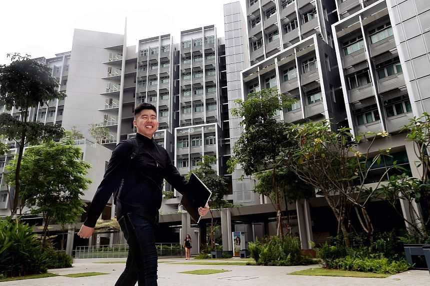 NTU student Ahmad Farid Jumari in front of Tanjong Hall, where he is also the council president, and in his room at the residence.