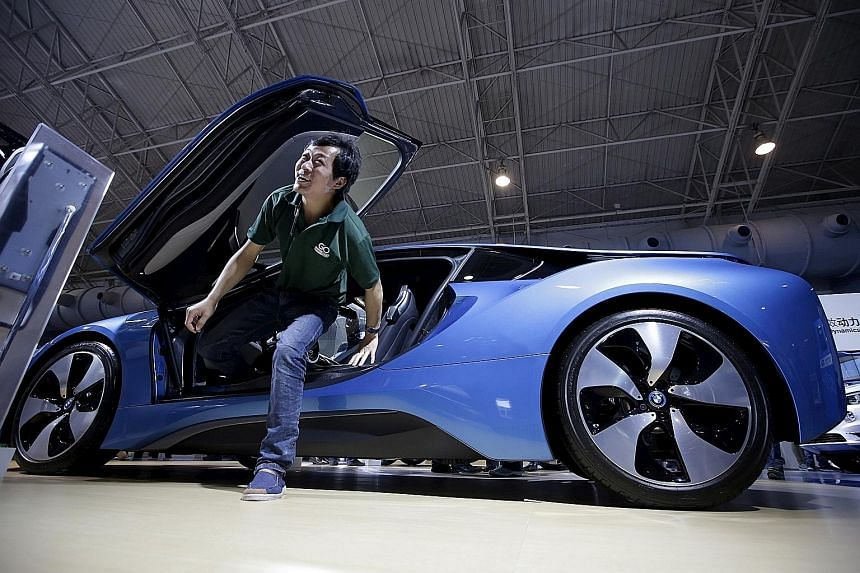 A BMW sports car on display in Beijing. Europe has long been frustrated by China's exports policies, but now China is positioning itself as a defender of the global trading system.