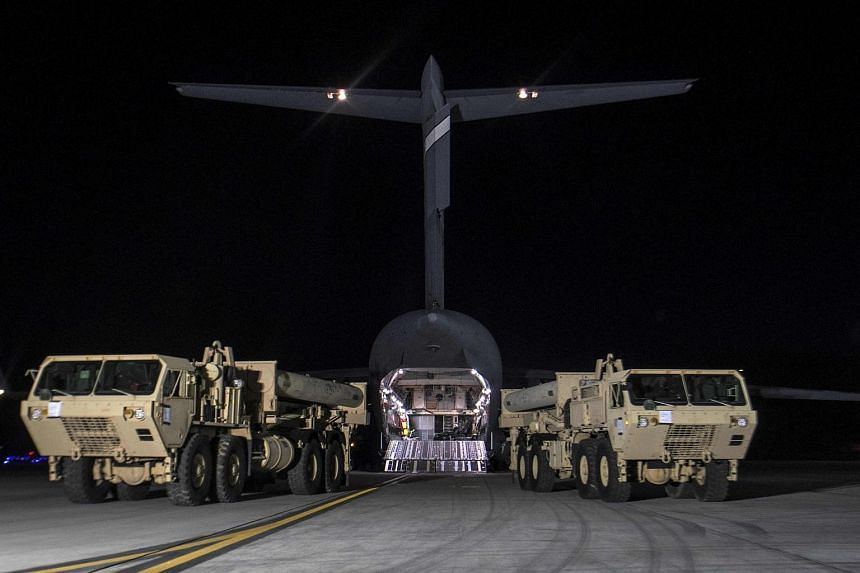 The first elements of the US-built Terminal High-Altitude Area Defense (THAAD) arriving at Osan US Air Base in Pyeongtaek, south of Seoul, on March 6, 2017.