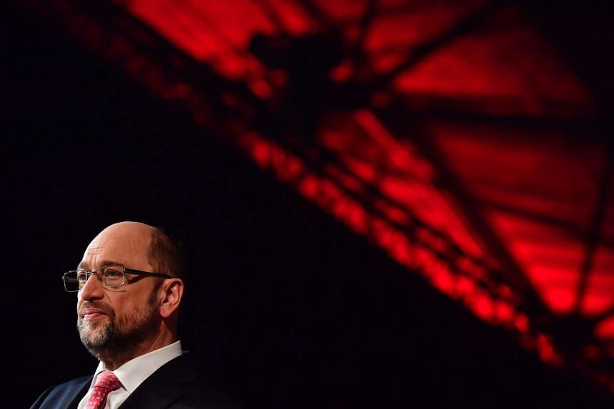Newly elected candidate for Chancellor of Germany's social democratic SPD party Martin Schulz gives a TV interview.