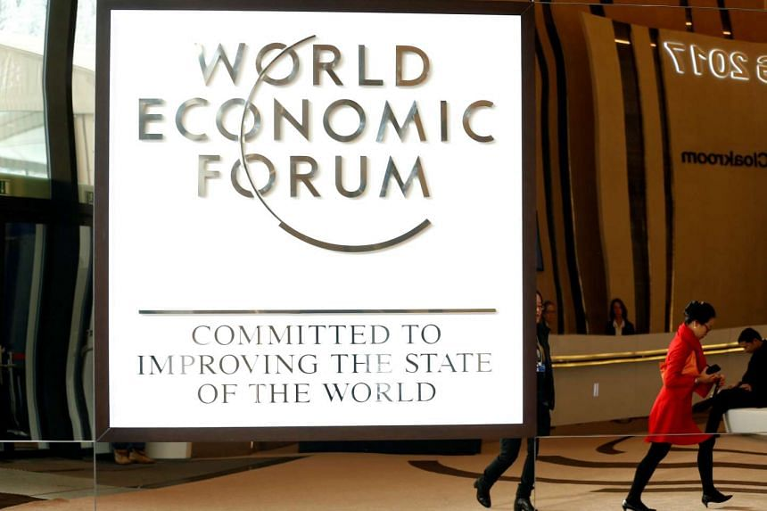 The logo of the World Economic Forum is seen in the congress center of the annual meeting of the World Economic Forum (WEF) in Davos, Switzerland on Jan 15, 2017.