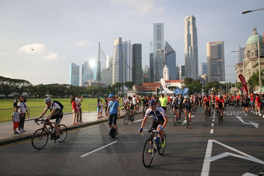 Cyclists taking part in the Safe Riding Programme during car-free Sunday on Feb 26, 2017.