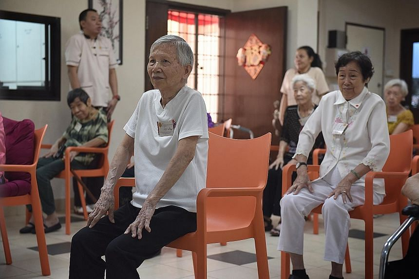 Madam Poon Oi Kheng (above) was unstable on her feet after a fall, but she can now stand and walk without any problems.