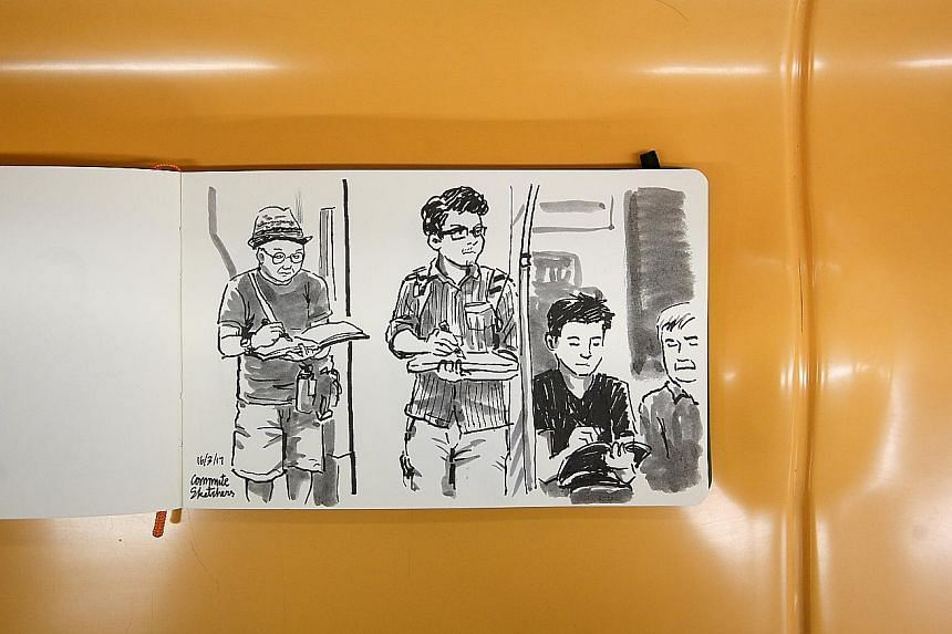 Illustrator and cartoonist Favian Ee turns the page into a mirror, with a sketch of fellow Commute Sketchers members Francis Theo, Alvin Mark Tan and Erwin Lian plying their skills on the train. Drawings by the group's members have already been exhib