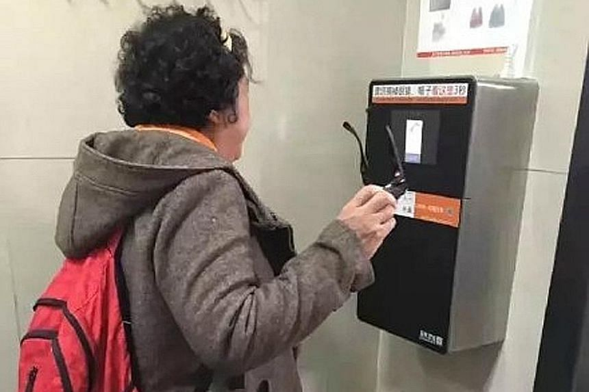 This machine scans a toilet user's face before it dispenses toilet paper. The device's software remembers faces, and will not dispense paper to someone who has just visited recently.