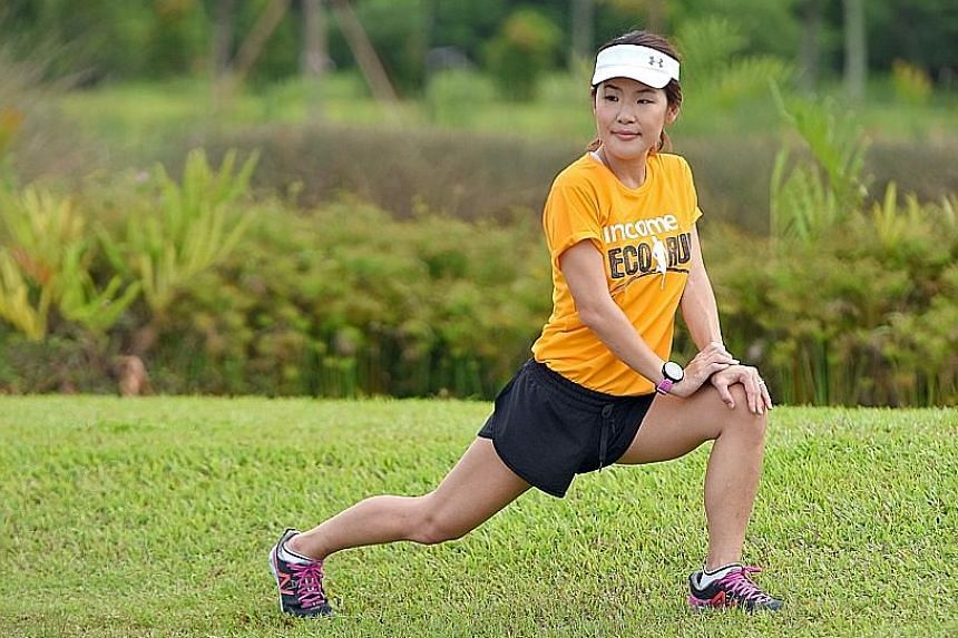 Ms Eng goes to Sengkang Riverside Park to jog and train for upcoming races.