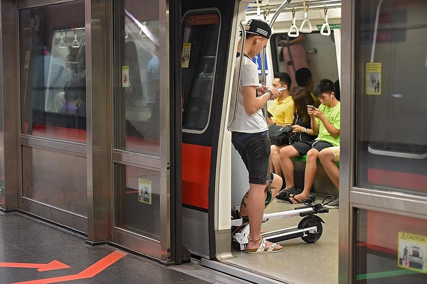 Based on checks at some MRT stations during weekday peak-hour travel, the LTA said it saw an average of about 15 to 20 commuters boarding the trains with their PMDs at each station. Since December, commuters have been allowed to take public transport