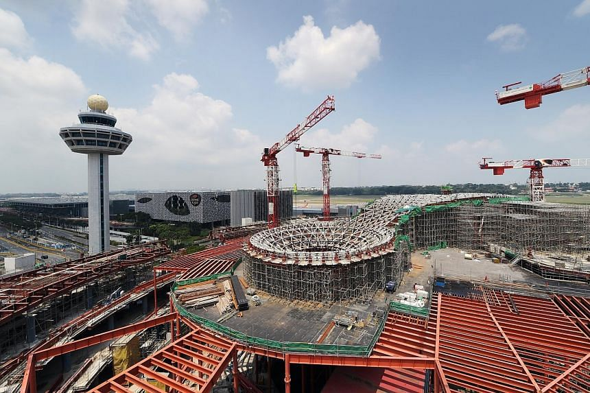 Jewel Changi Airport is shaping up nicely, with works in full swing behind the hoardings. A recent preview tour for The Straits Times showed much of the structural work at the site in front of Terminal 1 - where an open-air carpark used to be - has b