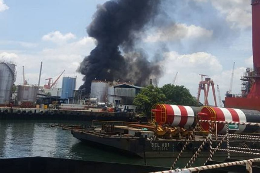 Thick plumes of smoke could be seen emerging from the blaze at a warehouse in Jurong.