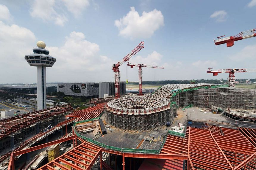 The Jewel at the Changi Airport under construction on March 13, 2017.
