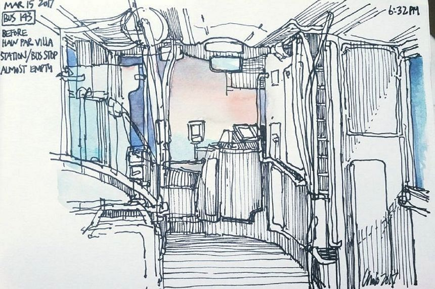 Sketches done by members of Commute Sketchers Facebook group.