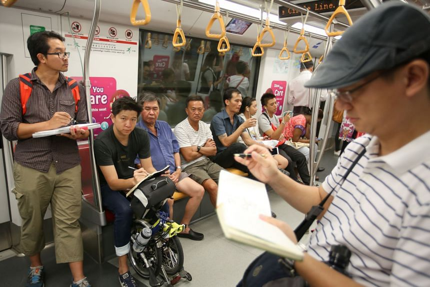 Commute Sketchers members (from far left) Alvin Mark Tan, Erwin Lian and Favian Ee are quick on the draw, doodling away to pass the time and unwind on their public transport journeys. The group began about a year ago and has around 180 members on Facebook