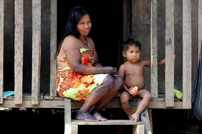 An Embera indigenous woman with her son in Quibdo, Colombia, on March 18,2017.