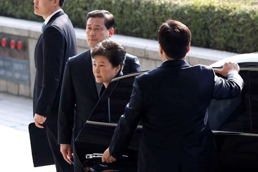 South Korea's ousted leader Park Geun-hye arrives at a prosecutor's office in Seoul, South Korea, on March 21, 2017.