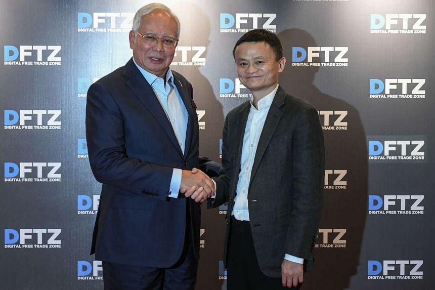 Malaysian Prime Minister Najib Razak (left) and Alibaba Group founder and executive chairman Jack Ma at the launch of Malaysia's Digital-Free Trade Zone in Kuala Lumpur.