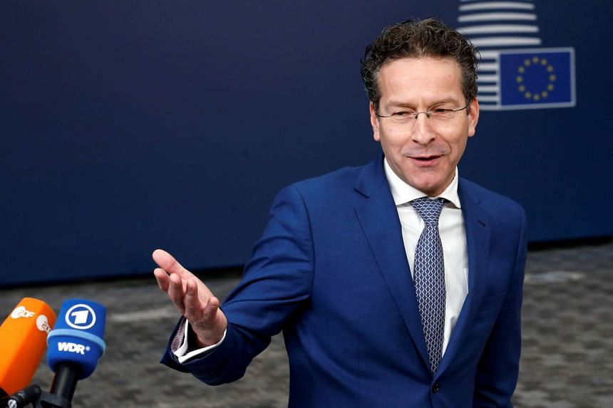 Dutch Finance Minister and Eurogroup President Jeroen Dijsselbloem talks to the media as he arrives at European Union finance ministers meeting in Brussels, Belgium on Feb 21, 2017.