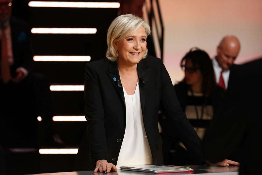 Ms Marine Le Pen attending a debate organised by the French private TV channel TF1.