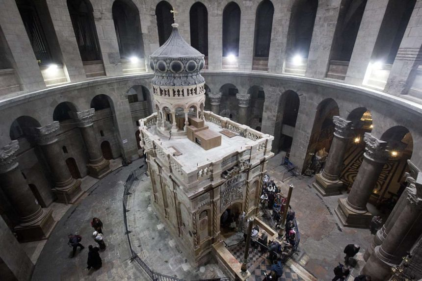 The tomb of Jesus Christ with the rotunda in the Church of the Holy Sepulchre in Jerusalem's Old City.