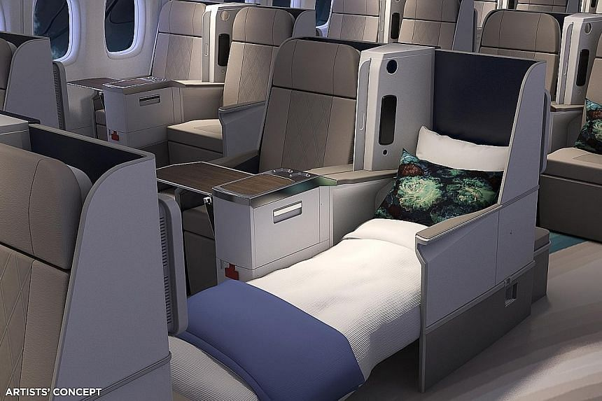 Artists' concept of Crystal's exclusive class lie-flat seats. The company's custom-built Boeing 777 will have 84 such seats, compared with the jet's usual 350 seats. Travellers on Crystal's jet will enjoy the use of a lounge and bar on board. The pla