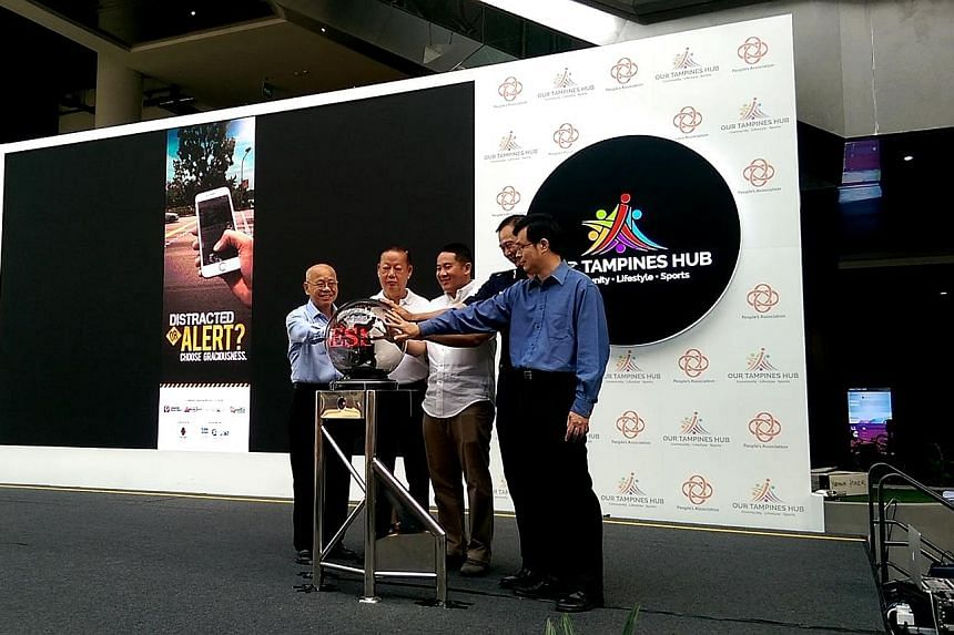 (From left) Singapore Kindness Movement general secretary William Wan, Singapore Road Safety Council chairman Bernard Tay, Parliamentary Secretary Amrin Amin, Senior Assistant Commissioner Sam Tee and Land Transport Authority chief transportation eng