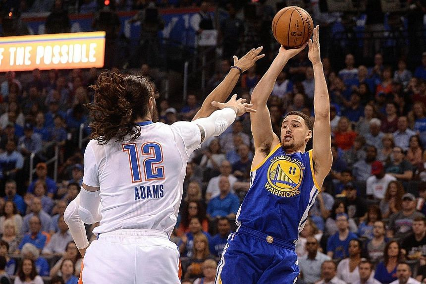 Golden State Warriors guard Klay Thompson shoots over Oklahoma City Thunder centre Steven Adams during the first quarter at Chesapeake Energy Arena. Thompson scored 34 points as the Warriors swept to a 111-95 victory.