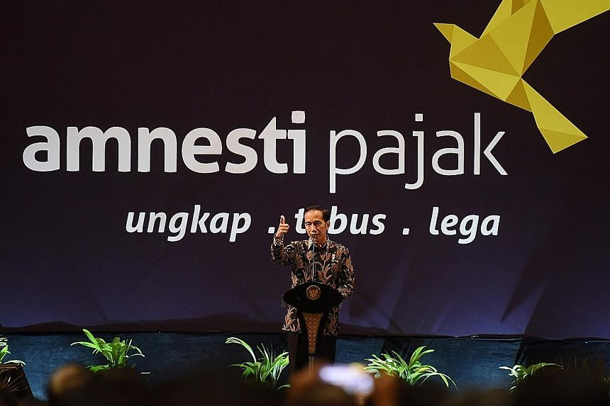President Joko Widodo speaking about the tax amnesty scheme to members of the business community in Jakarta last month.