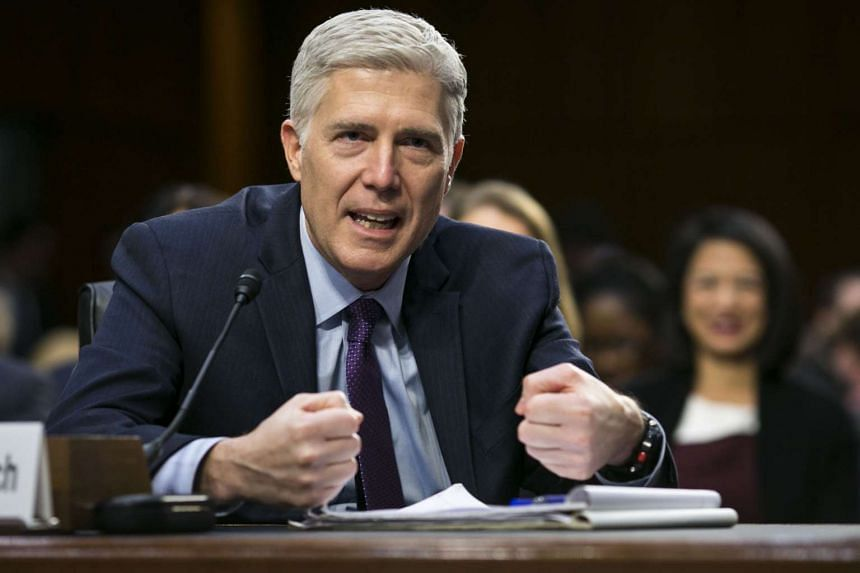 US Supreme Court nominee Neil Gorsuch testifies on the second day of his confirmation hearing before the Senate Judiciary Committee on Capitol Hill, in Washington, on March 21, 2017.