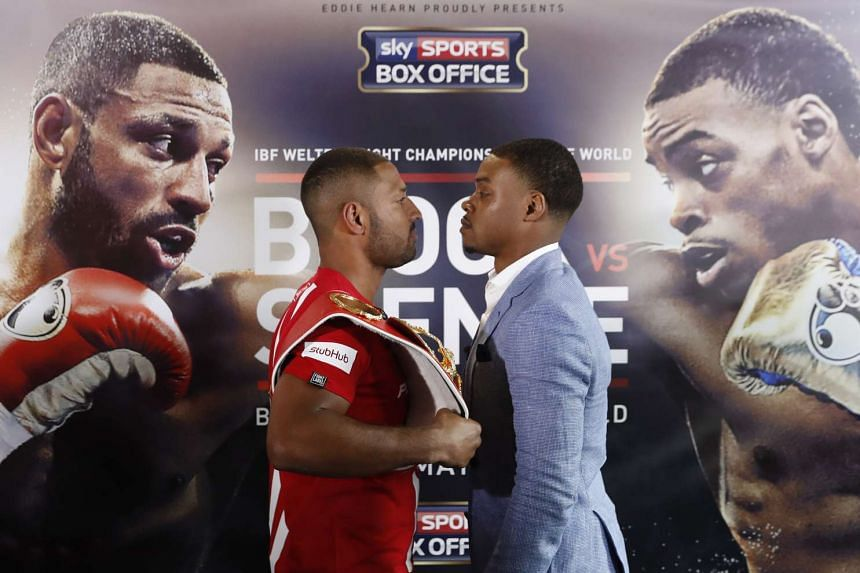 Kell Brook and Errol Spence pose after the press conference on March 22, 2017.